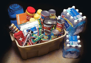 Picture of the recommended preparedness 72-hour basic emergency supply kit.