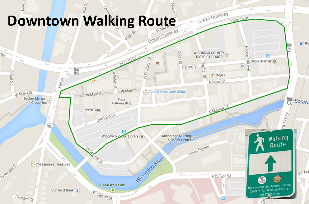 Downtown Walking Route map with sign