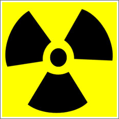 Radiation black symbol on yellow background.