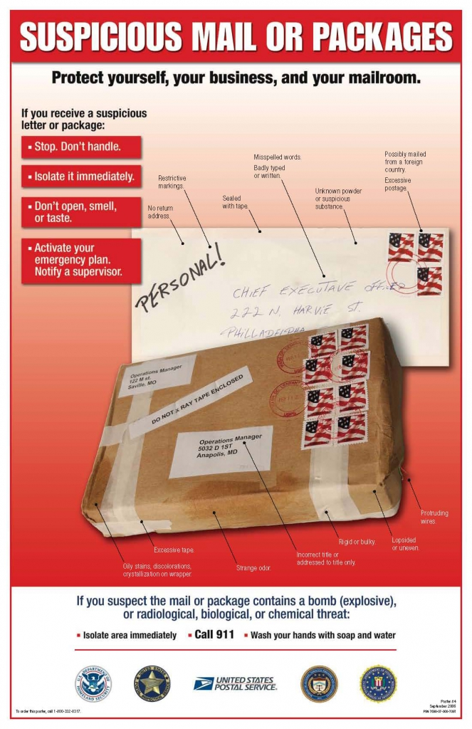 Suspicious Mail or Packages image from the USPS. If you receive a suspicious letter or package: stop, don't handle it; isolate it immediately; don't open, smell or taste; and activate your emergency plan and notify a supervisor.