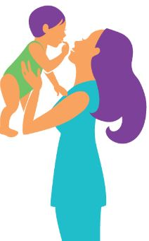 Mother holding baby illustration.