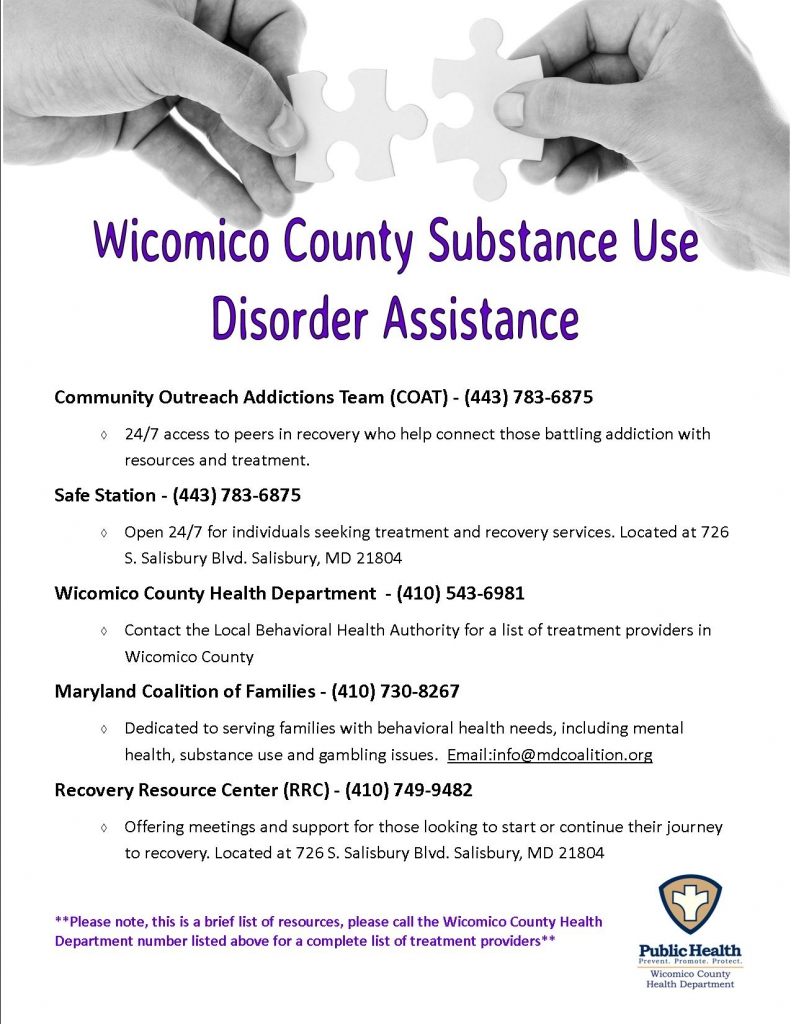 Wicomico County Substance Use Disorder Assistance - Click here for a list of community resources