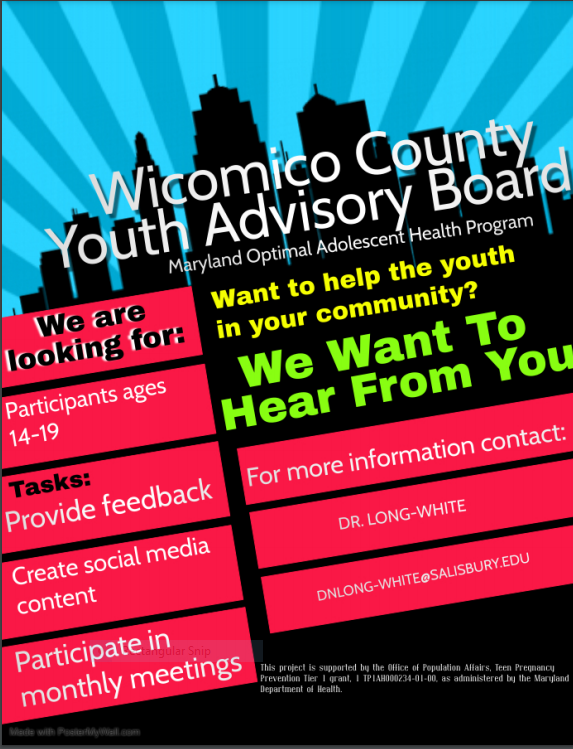Wicomico County Youth Advisory Board Looking for Participants ages 14-19 to provide feedback to create social media content and participate in monthly meetings